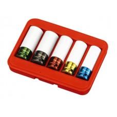 """5PC 1/2""""Dr. Rim Wheel Nut Thin Wall Impact Socket Set (MM)"""