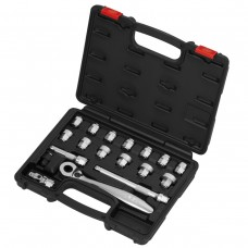 "18PCS 17H(3/8""DR.) ACT INSERT-SNAP WRENCH  & SUPER SHORT SOCKET SET (MM)"