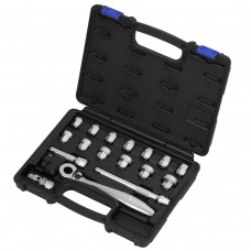 "18PCS 17H(3/8""DR.) ACT INSERT-SNAP WRENCH  & SUPER SHORT SOCKET SET (AF)"